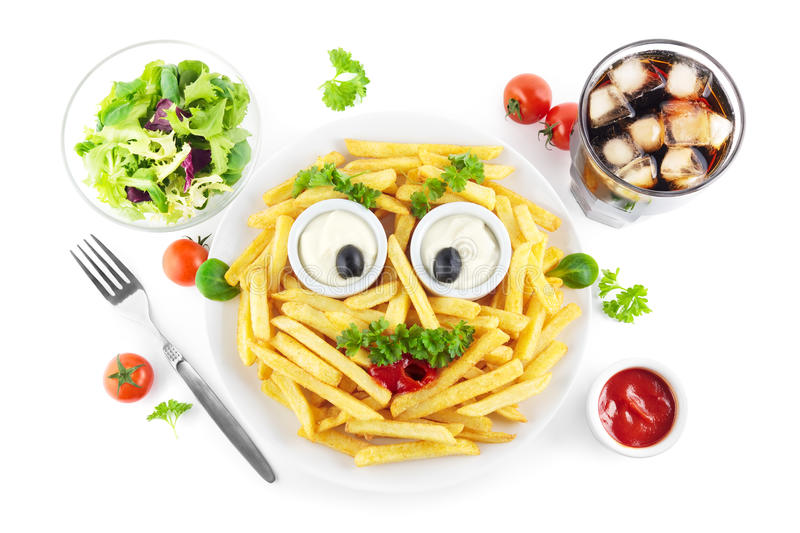 Funny french fries meal stock photos