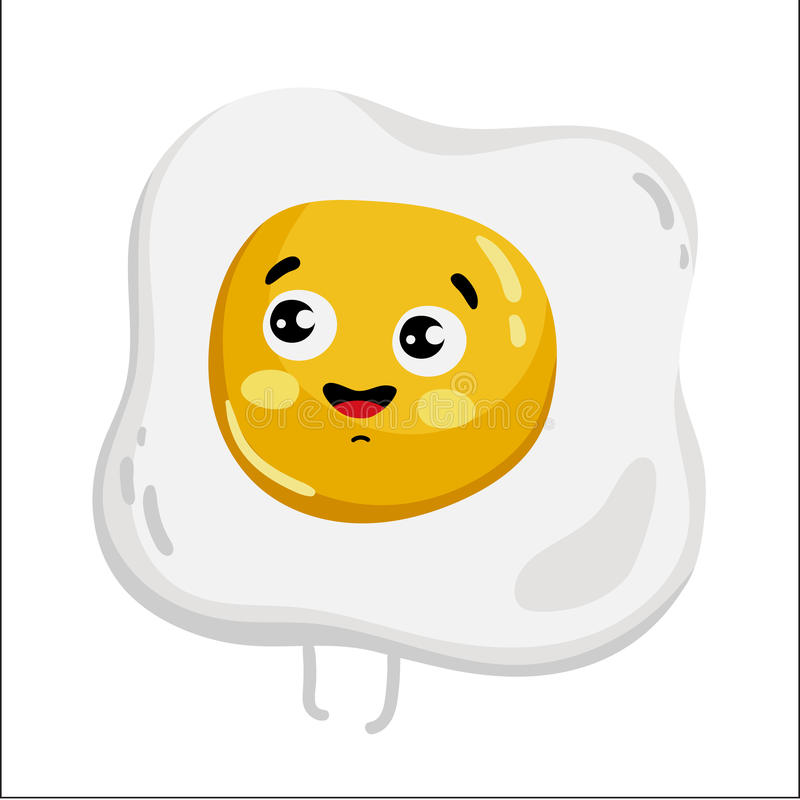 Funny fried egg cartoon character. Cute fried egg cartoon character on white background vector illustration. Funny fast food menu emoticon face icon. Happy smile royalty free illustration
