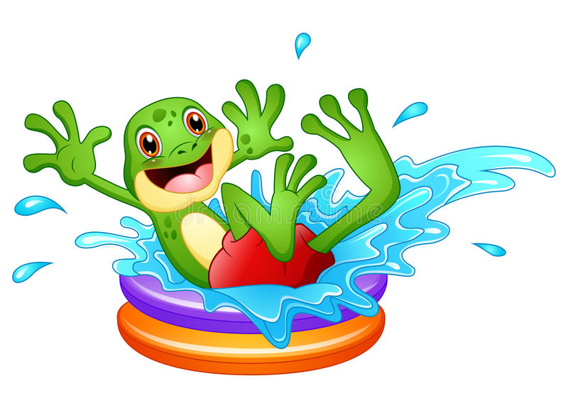 Funny frog cartoon sitting above inflatable pool with water splash stock illustration