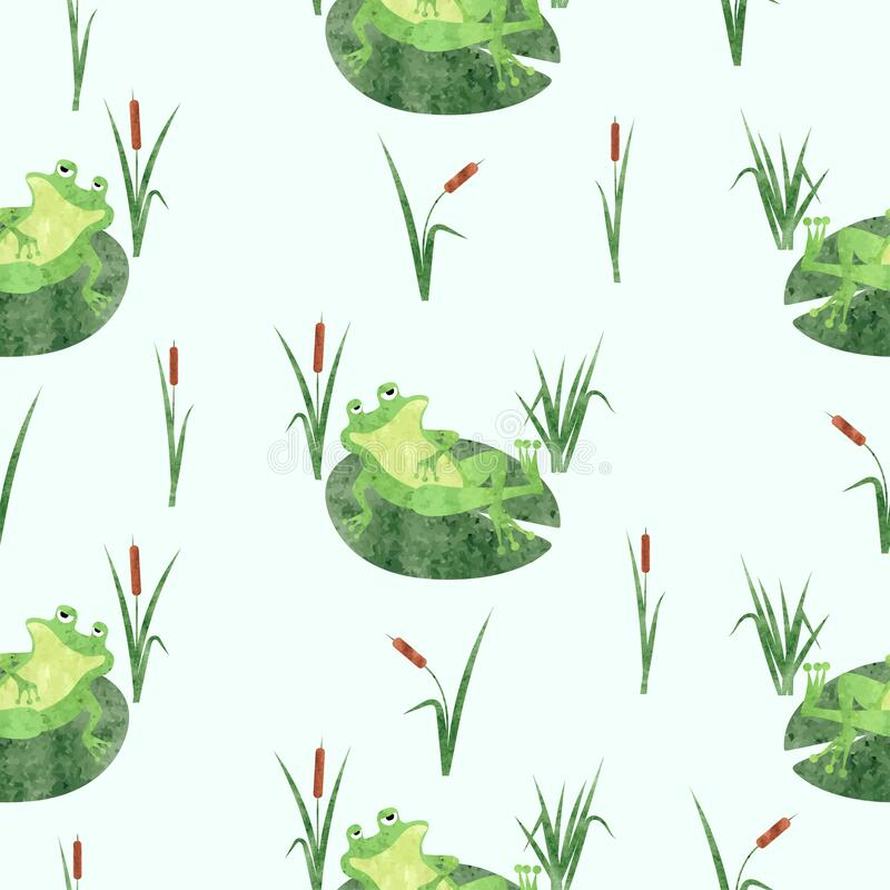 Free Funny Frog Pattern. Seamless Vector Marsh Background With Toad On Lily Pad Royalty Free Stock Photo - 220031075