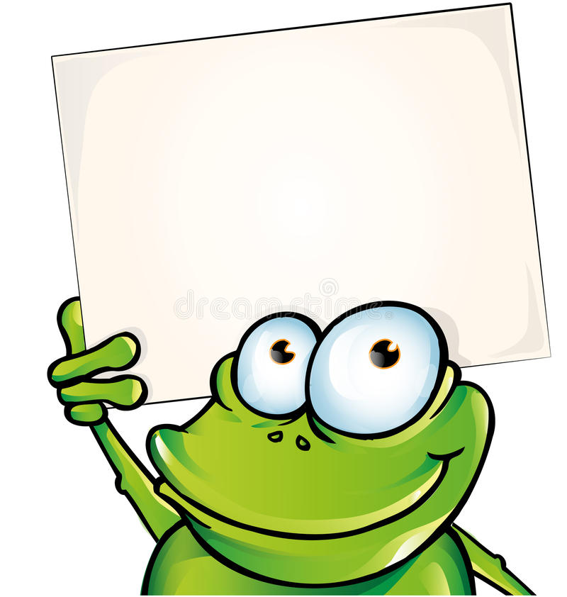 Funny frog with signboard. Isolated royalty free illustration