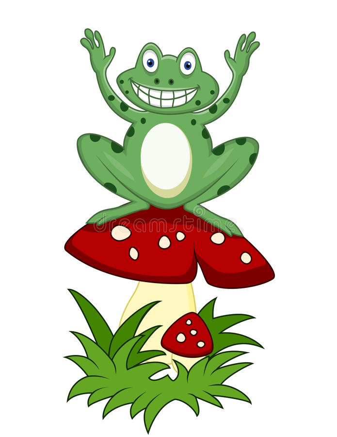 Funny Frog Sitting On Mushroom Royalty Free Stock Image