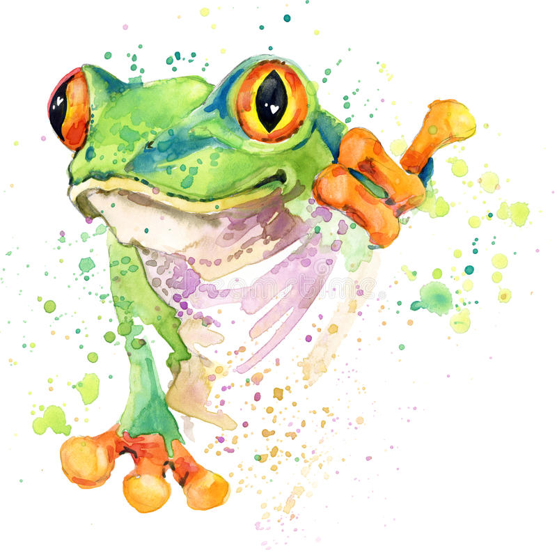 Free Funny Frog T-shirt Graphics. Frog Illustration With Splash Watercolor Textured Background. Unusual Illustration Watercolor Frog Fa Royalty Free Stock Photo - 56387675