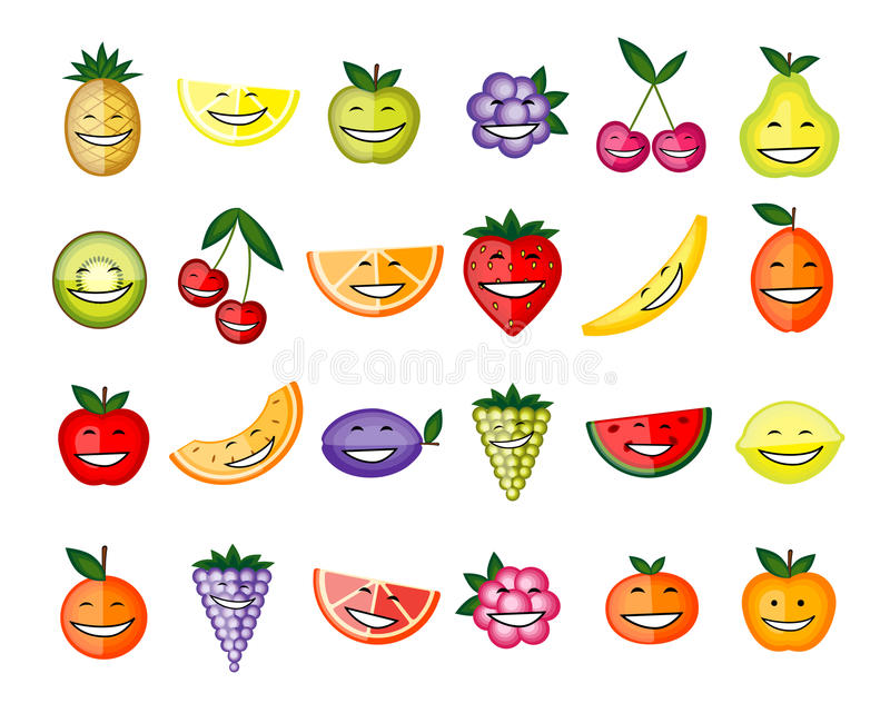 Funny fruit characters smiling royalty free illustration