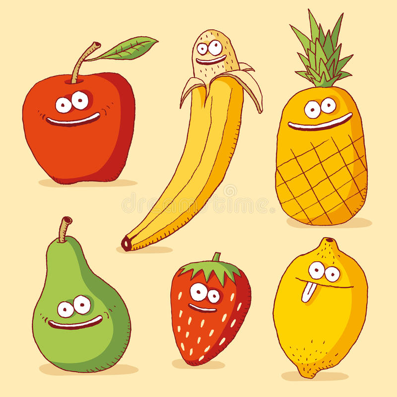 Funny fruits stock illustration