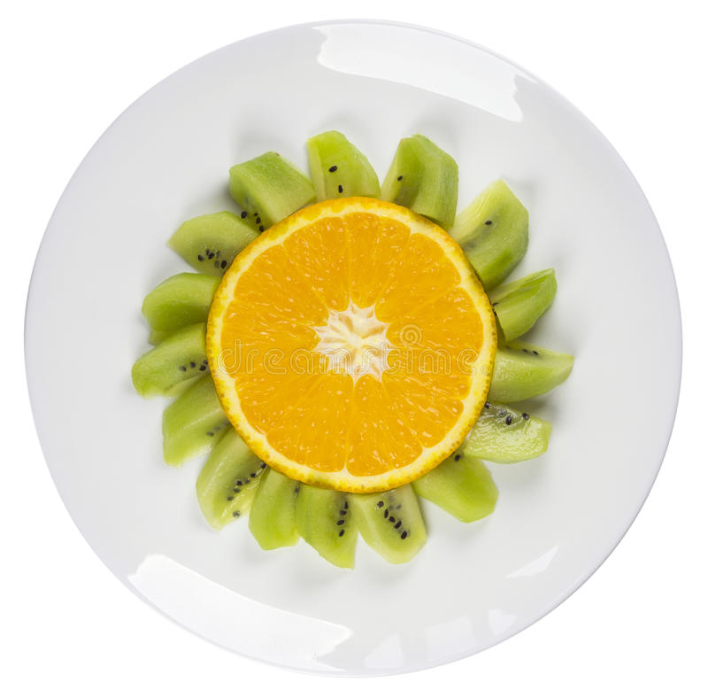Funny Fruits - Oranges Flower Dish Isolated royalty free stock photo