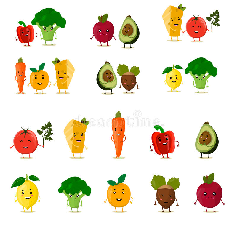 Funny fruits set. Cute fruits and vegetables collection. Cartoon food characters. Vector illustration. Isolated on white. Paprika, broccoli, tomato, lemon royalty free illustration