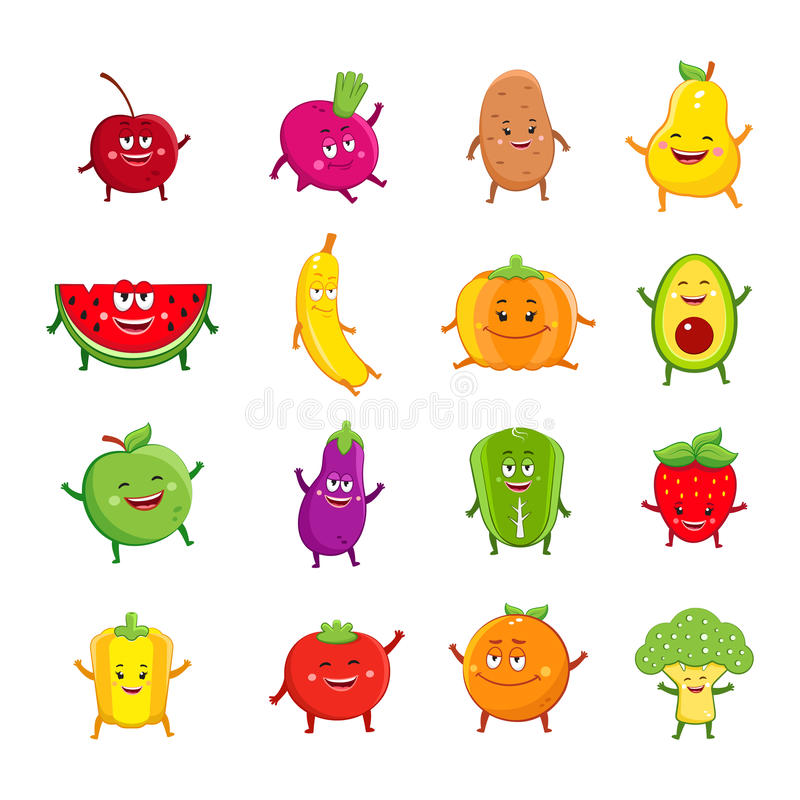Funny fruits and vegetables cartoon characters royalty free illustration