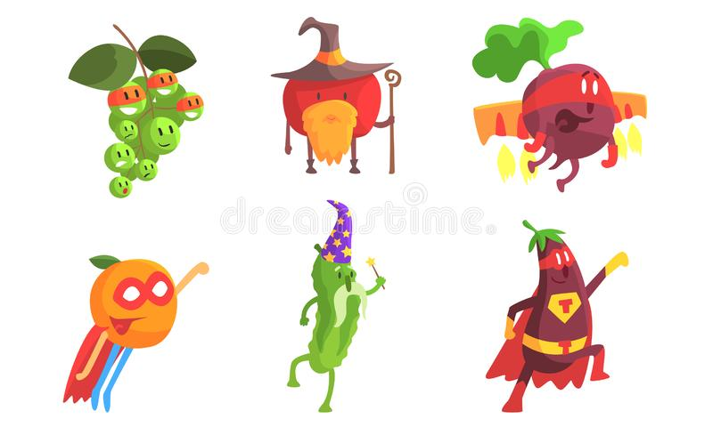 Funny Fruits and Vegetables Characters Wearing Wizard and Superhero Costume Set, Grape, Apple, Beetroot, Orange. Cucumber, Eggplant Vector Illustration on royalty free illustration
