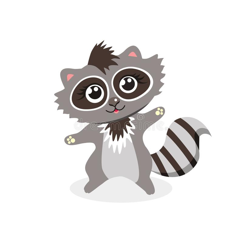 Funny, funny, little raccoon waving his hand royalty free illustration
