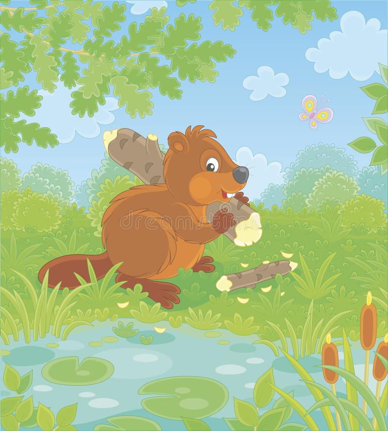 Brown beaver by a small blue lake royalty free illustration