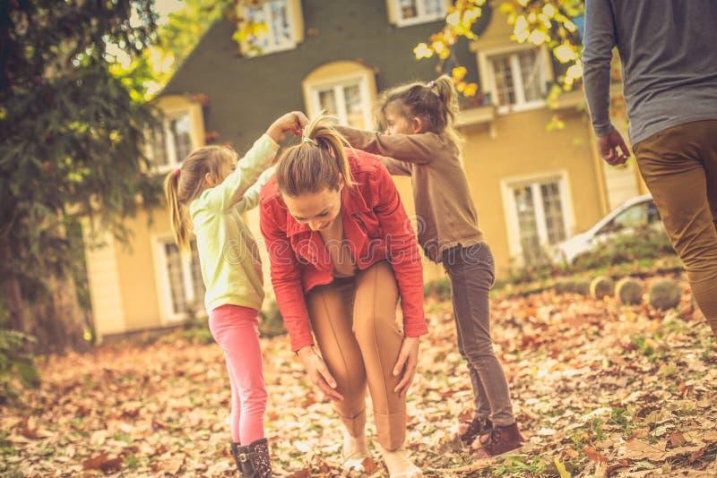 Funny game. Family reunion. Autumn season. royalty free stock photography