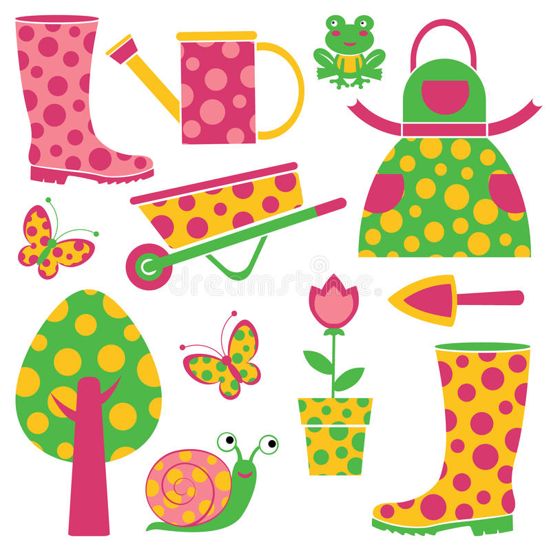 Download Funny garden stock vector. Illustration of trowel, grow - 25612954