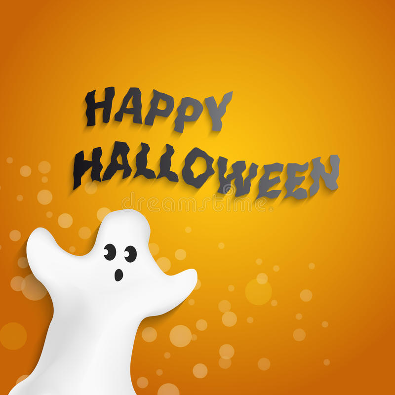 Download Funny Ghost Shape With Happy Halloween Message Stock Vector    Illustration Of Modern, Design
