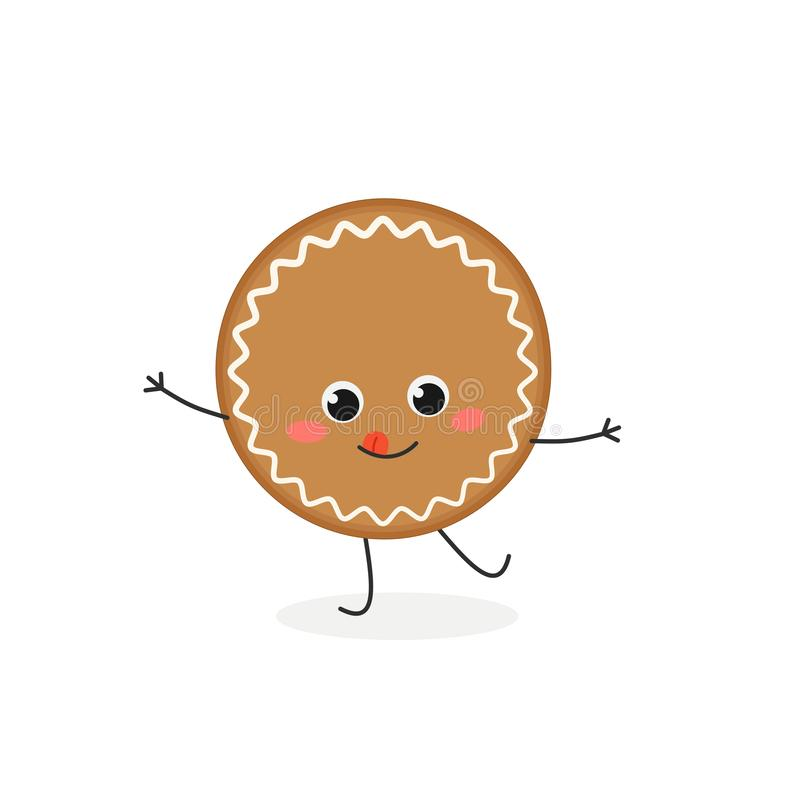 Funny gingerbread cookie character. Cheerful cartoon gingerbread cookie character. Vector flat illustration isolated on white background vector illustration