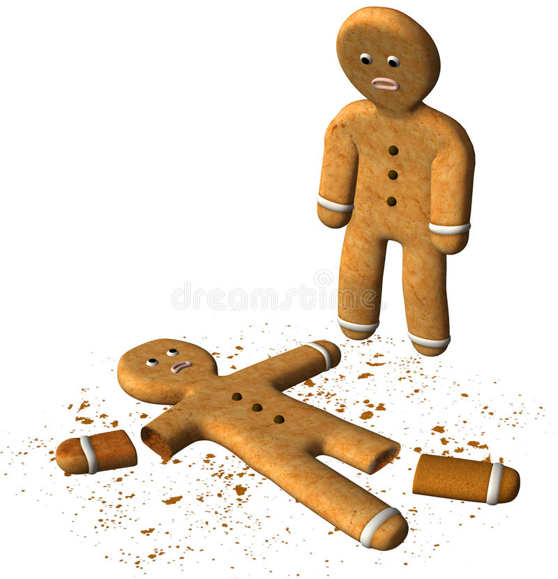 Funny Gingerbread Man Broken Cookie Isolated vector illustration