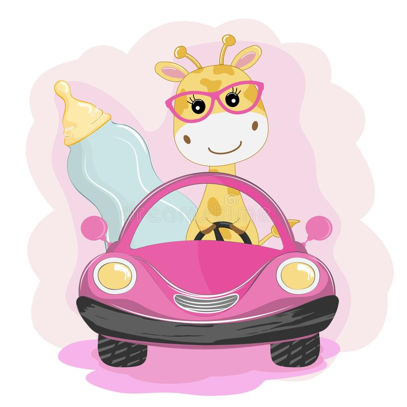 Funny giraffe with baby bottle with milk go by car. Element for print design, greeting card, poster and t-shirt stock illustration