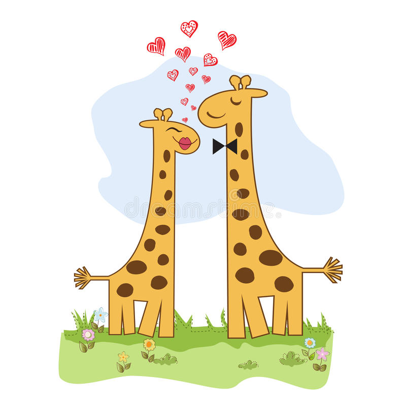 Funny giraffe couple in love stock illustration
