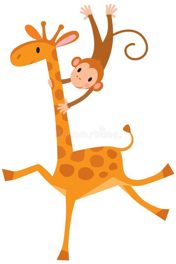 Funny Giraffe With Monkey Stock Vector - Image: 50904262