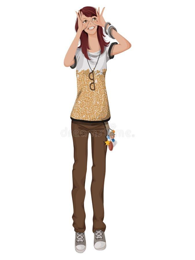 Funny girl stock illustration