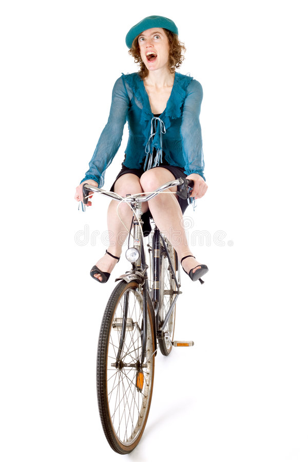 Download Funny girl on bicycle stock photo. Image of riding, beautiful - 8540402