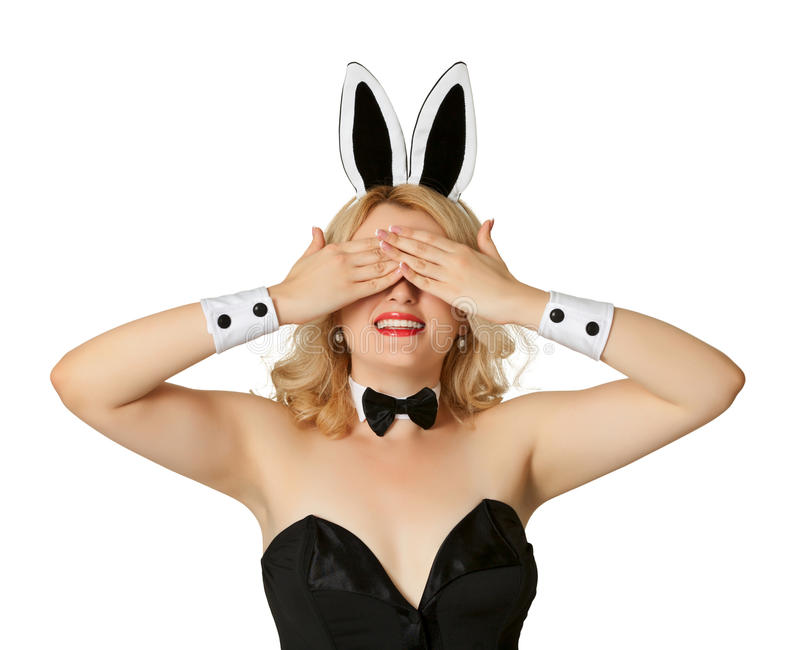 Download Funny Girl In A Bunny Suit, Closed Her Eyes Stock Photo - Image: 25369066