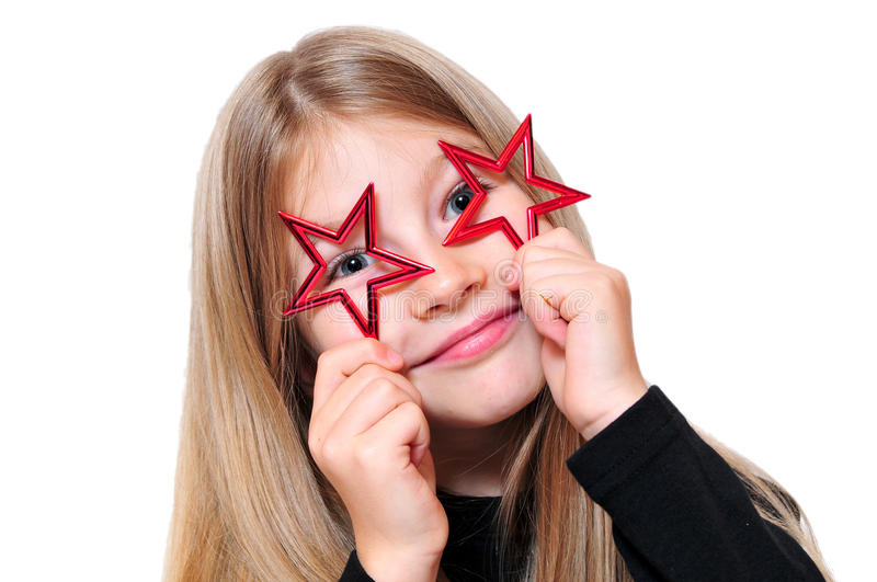 Download Funny girl Christmas star stock photo. Image of young - 18174764
