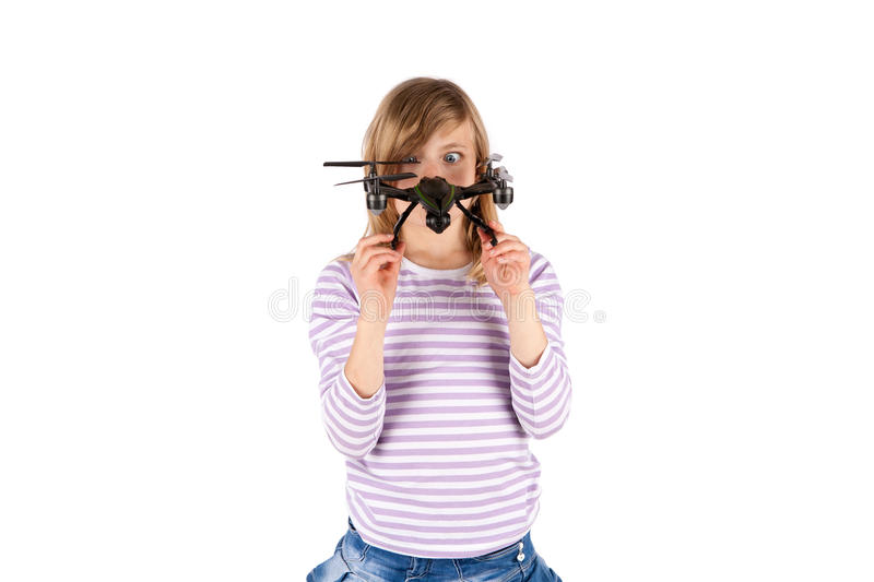 Funny girl with drone royalty free stock image