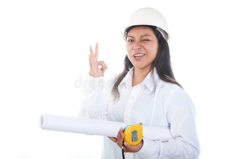 Funny girl engineer royalty free stock photos