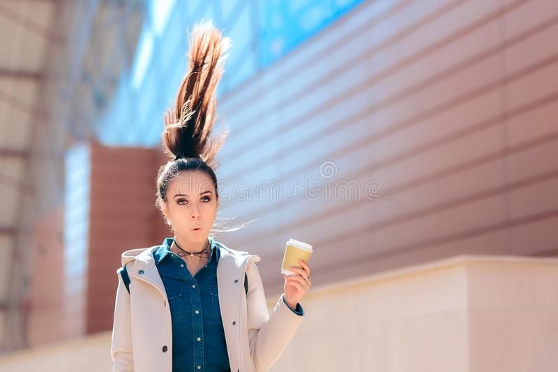 Funny Girl with Hot Drink Coffee Cup For Extra Morning Energy stock photo