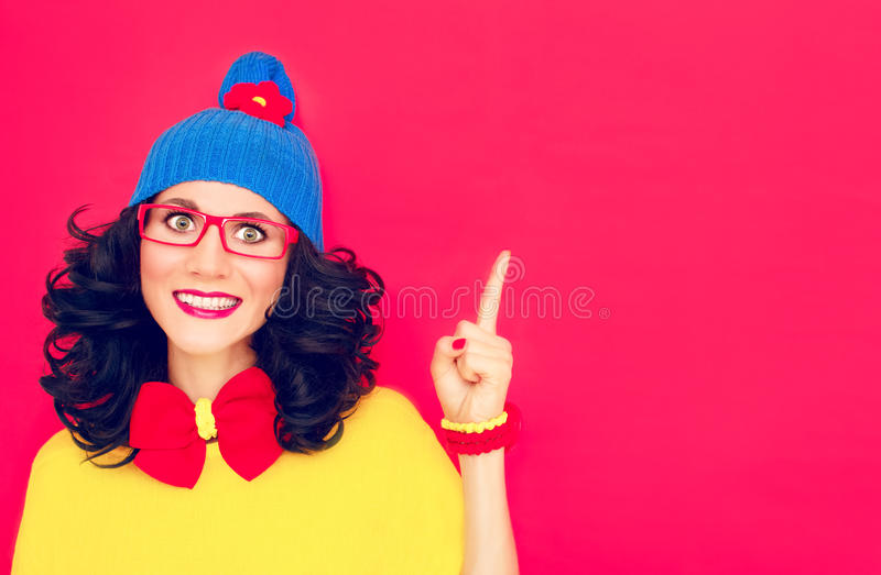 Funny girl with index finger. Portrait funny girl with index finger stock photo