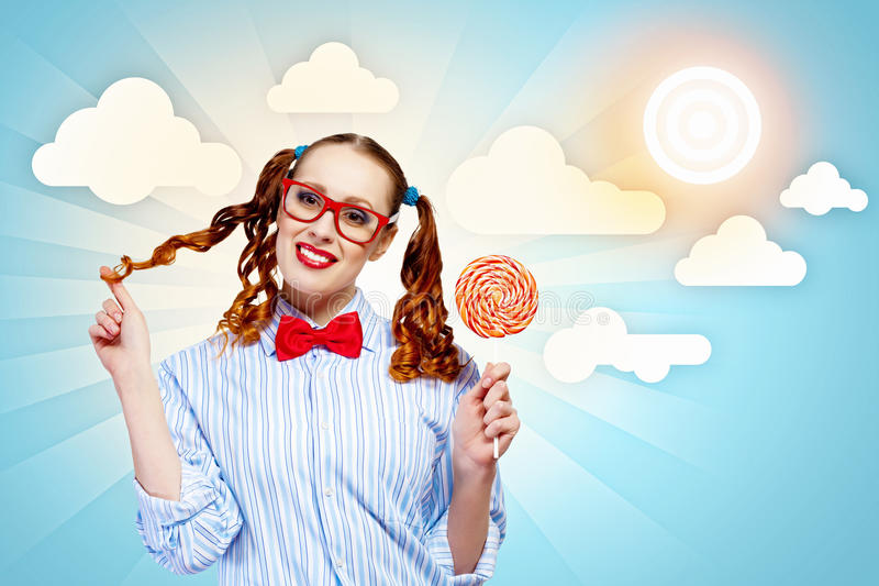 Funny girl with lollipop royalty free stock images