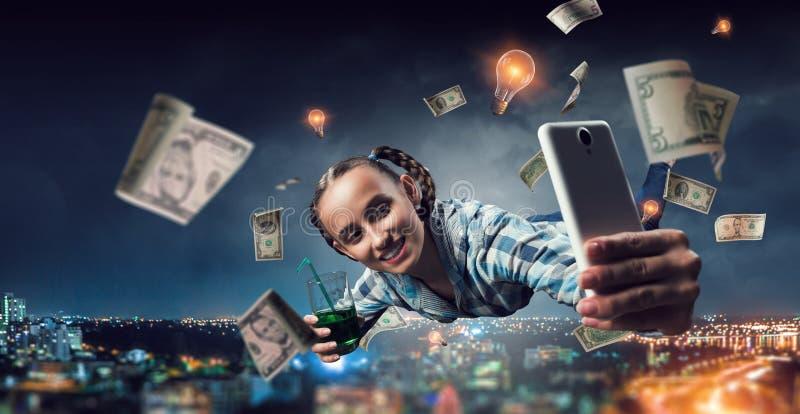 Funny girl make selfie. Mixed media royalty free stock photography