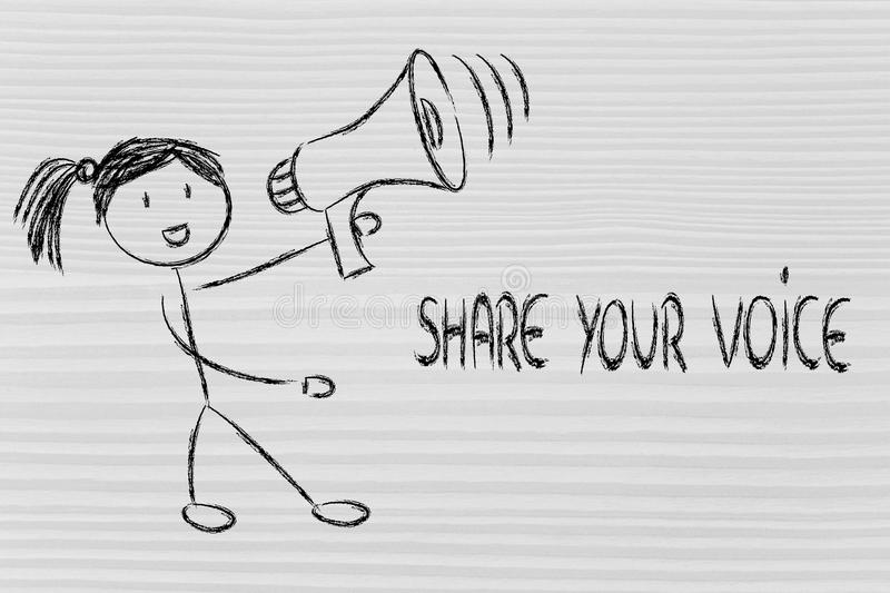 Download Funny Girl With Megaphone: Share Your Voice Stock Illustration - Illustration: 39600218