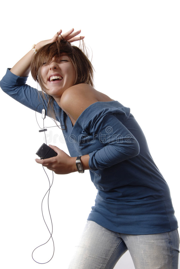 Funny girl with music royalty free stock image