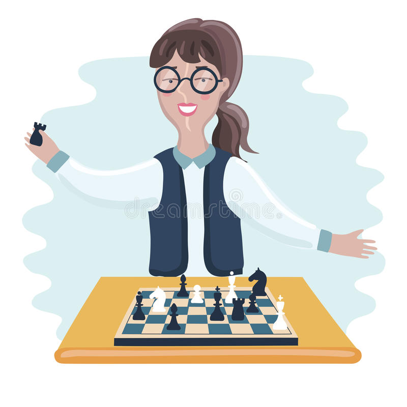 Funny girl playing chess stock illustration