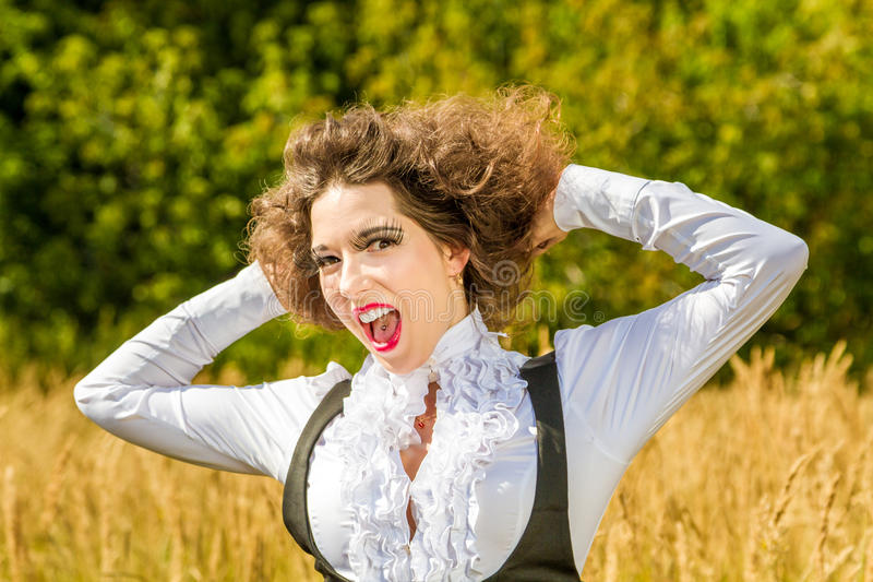 Funny girl posing on nature royalty free stock images
