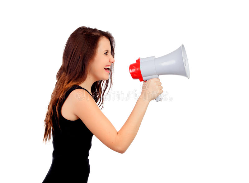 Download Funny Girl Shouting With A Megaphone Stock Image - Image: 33855345