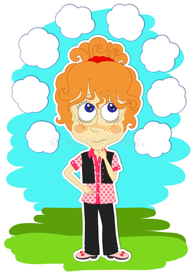 Funny girl is thinking vector illustration
