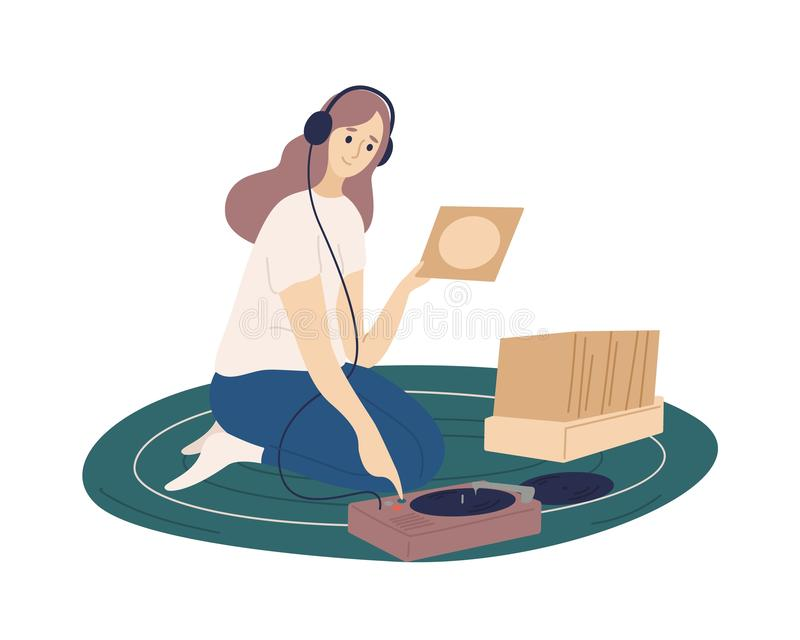 Funny girl wearing headphones putting vinyl records into turntable and listening to music. Cute young woman spending. Time at home and enjoying her hobby. Flat stock illustration