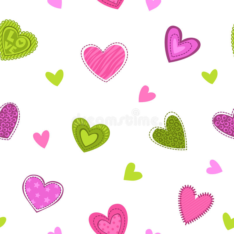 Funny girlish printable texture with cute hearts. Vector seamless pattern vector illustration