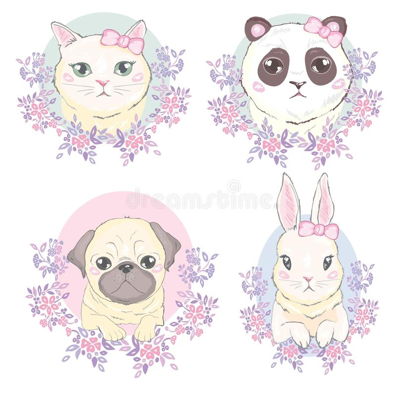 Funny girlish seamless pattern with cute kitty, dog, rabbit, faces. royalty free illustration