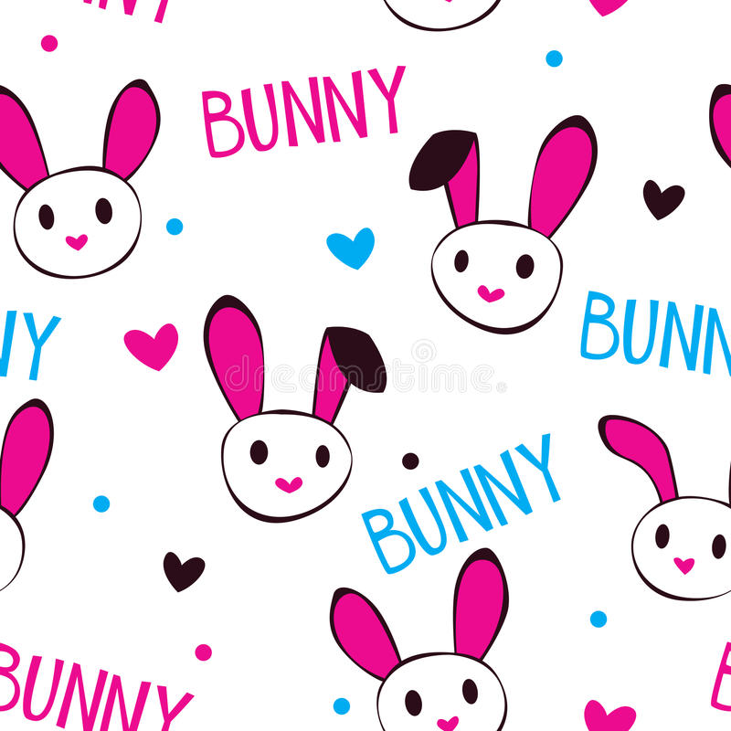 Funny girlish texture with bunny faces. And letters on white, seamless pattern royalty free illustration