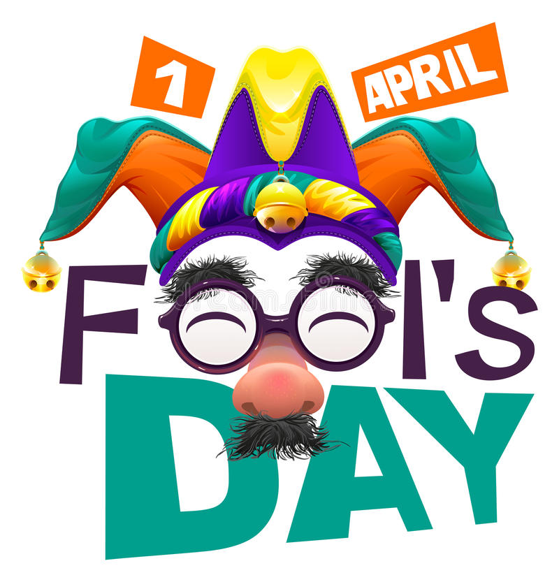 Funny glasses nose. April Fools Day lettering text for greeting card. 1 April Fools Day vector illustration