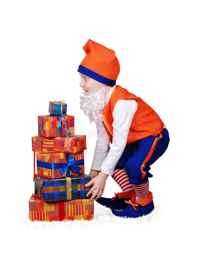 Download Funny Gnome With Christmass Presents Royalty Free Stock Photos - Image: 26645298
