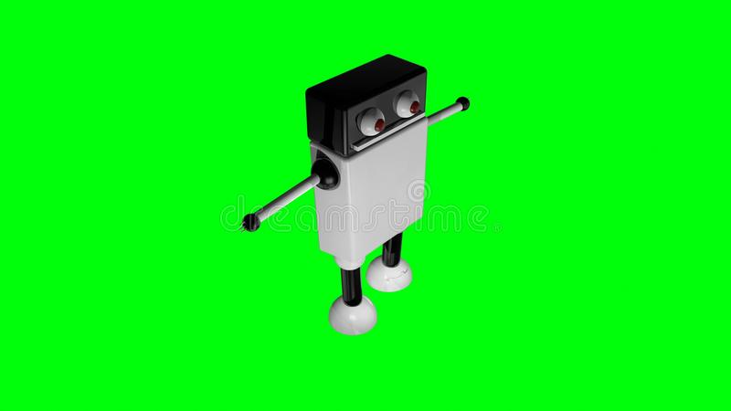 Funny going robot with big eyes in black space, 3d render background, computer generating royalty free illustration
