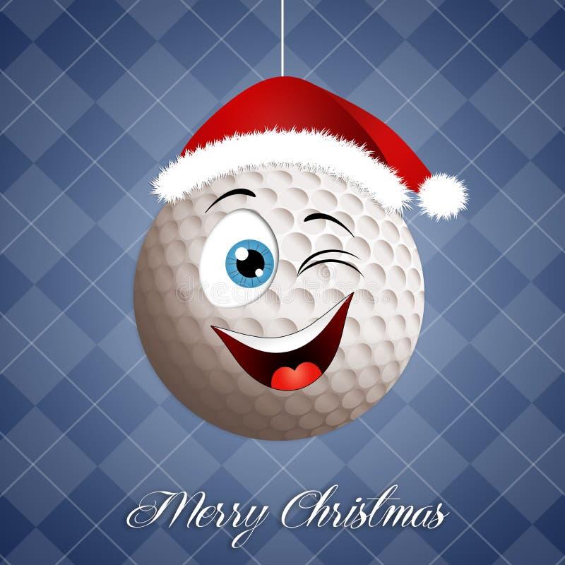 Funny golf ball for Christmas stock illustration