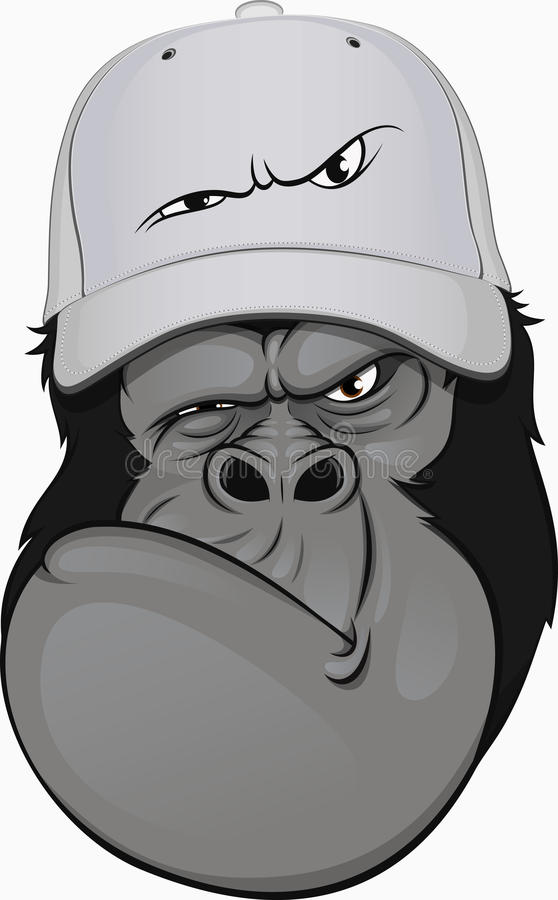 Funny gorilla in a baseball cap royalty free illustration