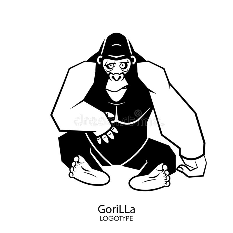 Funny gorilla. Cartoon character of an African animal. Serious cool sitting gorilla posing on a white background. Vector illustration. Wild inhabitant of the vector illustration