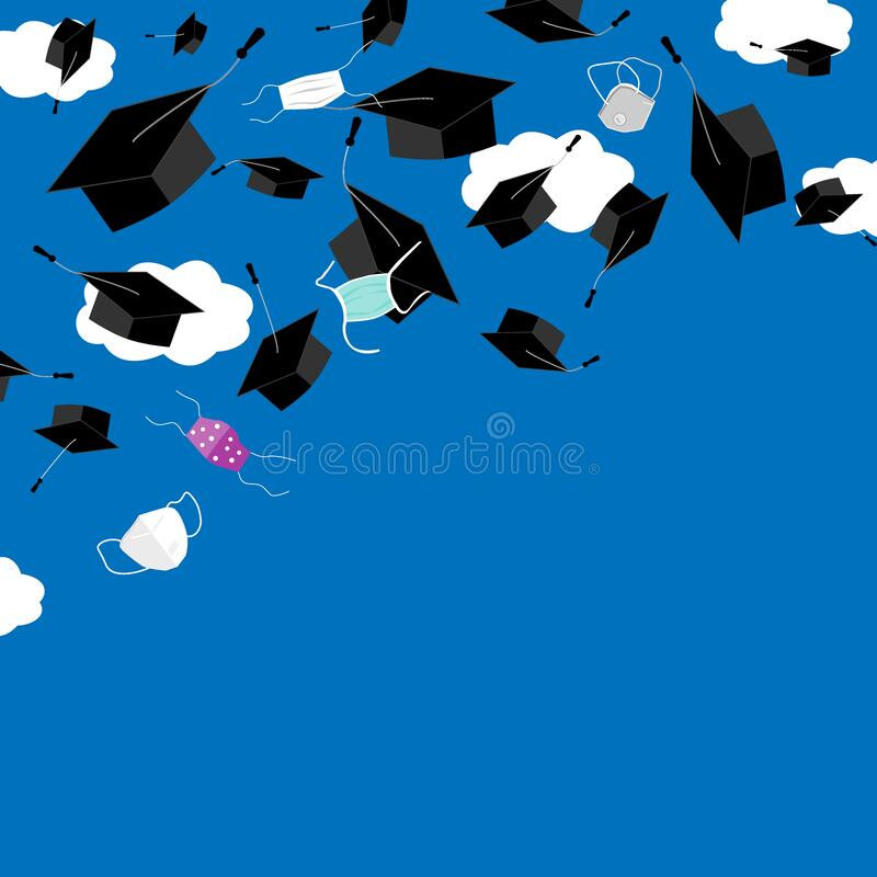Free Funny Graduation Corner Background With Bonnets And Medical Masks In The Air. Flying Masks And Grads Hats, Quarantine Stock Images - 182853064